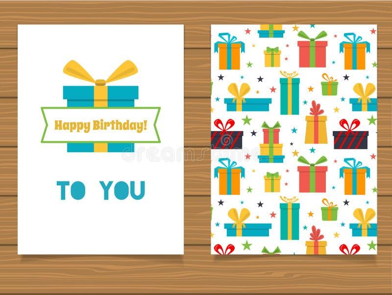 Download Joyeux Anniversaire Carte De Voeux De Lettrage Et Son Verso Avec Une Conception Abstraite Illustration de Vecteur - Illustration du carte, festive: 76088801