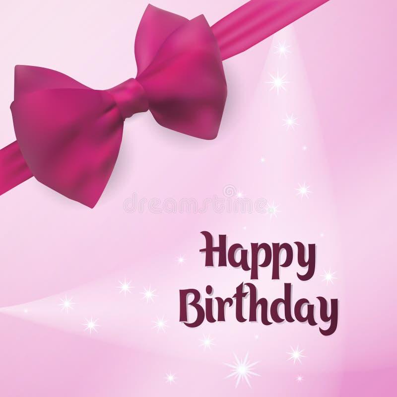 Joyeux anniversaire Carte de voeux de naissance Éclairez à contre-jour sur le fond décoré de l'arc rose illustration de vecteur