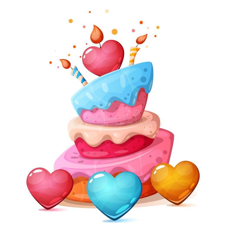 Joyeux anniversaire, coeur, illustration de gâteau illustration de vecteur