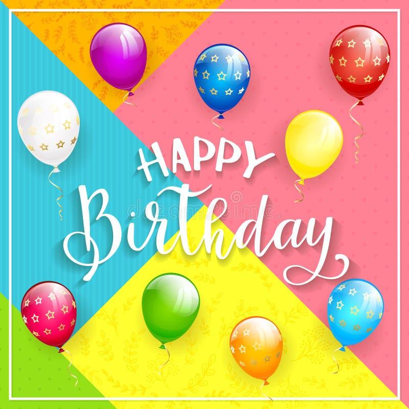 Joyeux anniversaire coloré de fond et de textes avec des ballons illustration stock