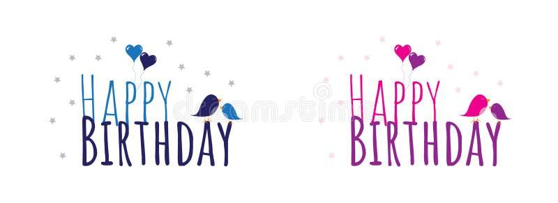 Joyeux anniversaire, conception de libellé colorée, inscription d'isolement sur le fond blanc Garçon d'anniversaire et fille, ill illustration libre de droits