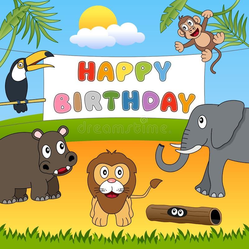 Joyeux anniversaire d'animaux sauvages illustration de vecteur