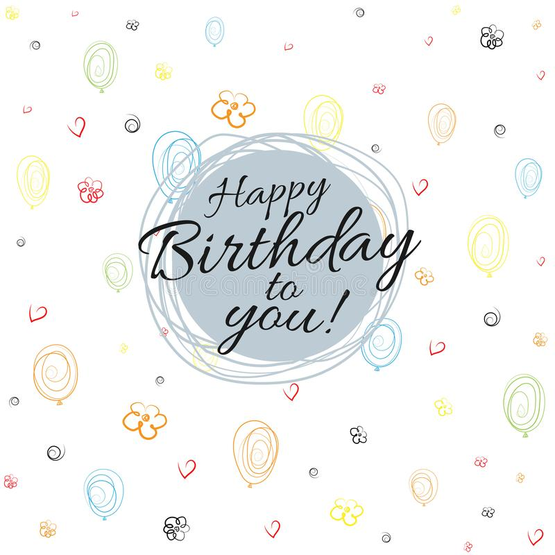 Joyeux anniversaire de bannière sur le fond sans couture des ballons, coeurs, fleurs, spirales dessinant le vecteur plat de fond illustration de vecteur