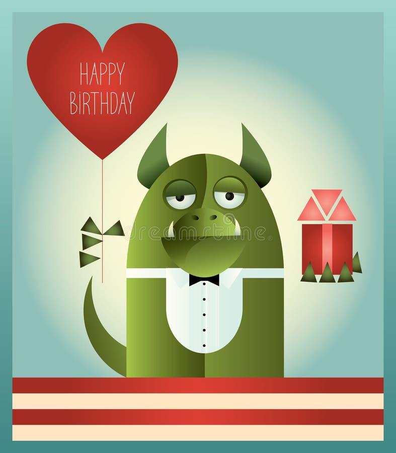 Joyeux anniversaire de monstre vert illustration de vecteur