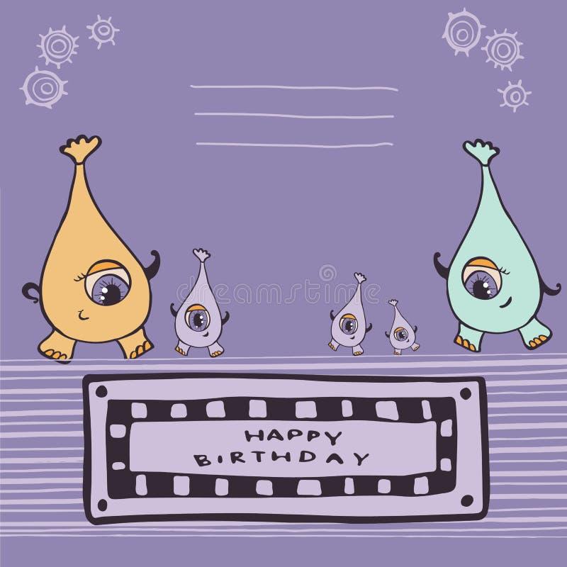 Joyeux anniversaire de monstres roses illustration libre de droits
