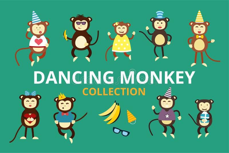 Joyeux anniversaire de partie de danse de singe de vecteur de bande dessinée illustration stock