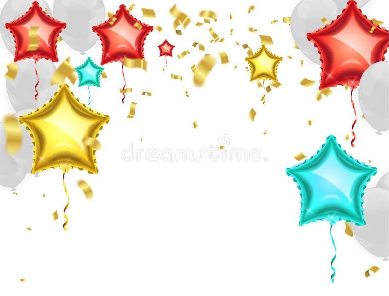 Joyeux anniversaire Drapeaux de partie avec des confettis et rubans tombant dessus illustration de vecteur