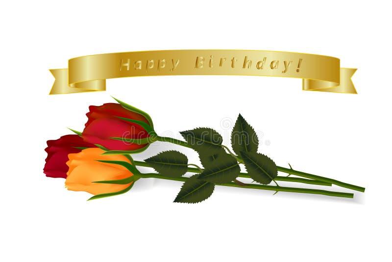 Joyeux anniversaire Ensemble de rubans d'or de vecteur avec les roses multicolores de voThree se trouvant sur la surface avec des illustration stock
