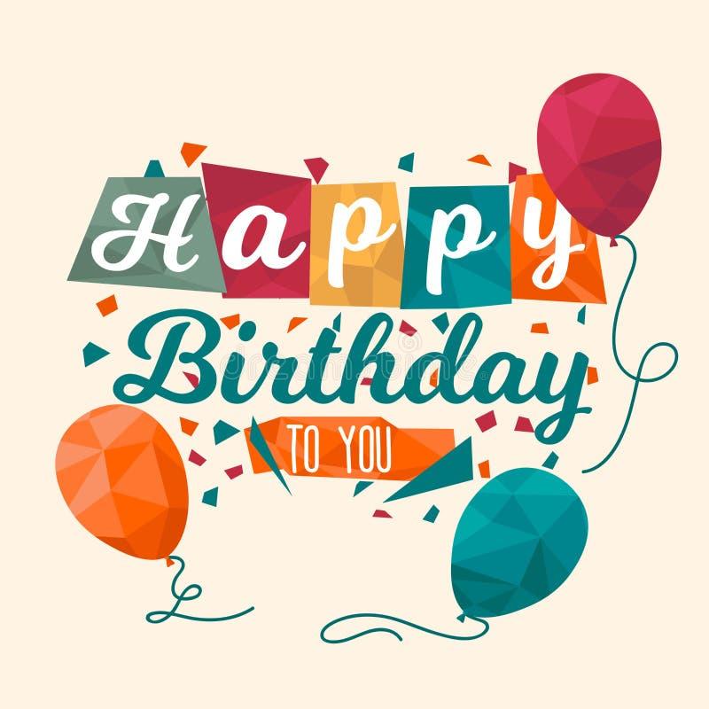 Joyeux anniversaire félicitations de carte lowpoly image stock