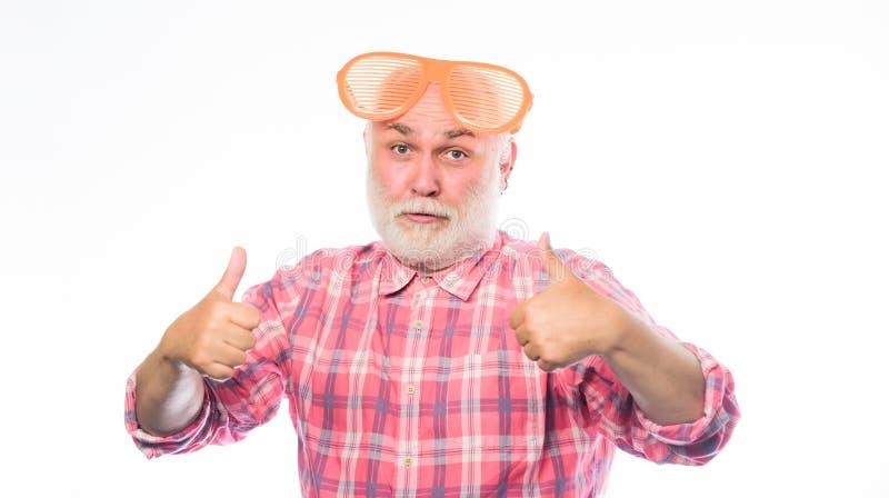 Joyeux anniversaire Partie d'entreprise Bonjour ?t? Homme en verres de partie Homme heureux avec la barbe Partie de retraite anni photo stock