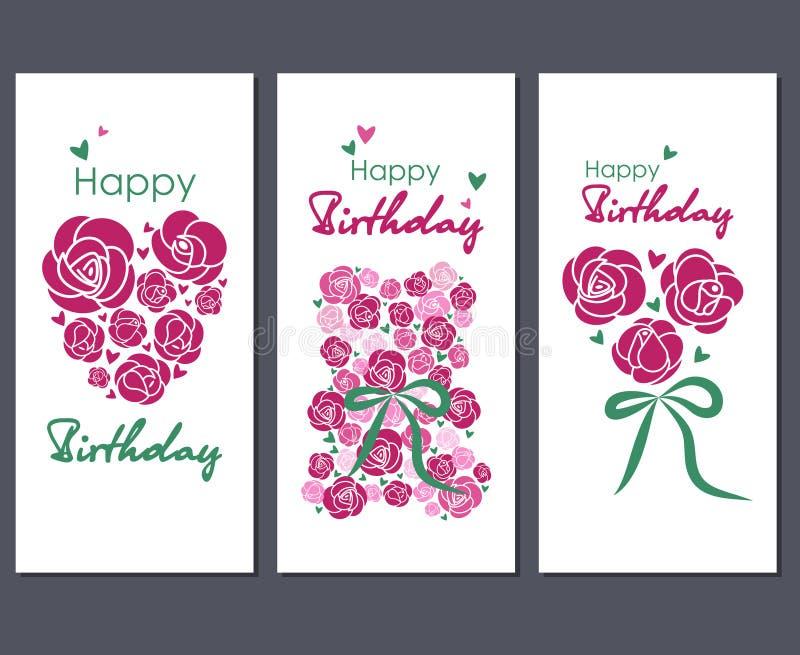 Joyeux anniversaire Placez de trois cartes de voeux illustration stock