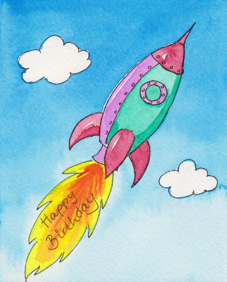 Joyeux anniversaire Rocket illustration stock