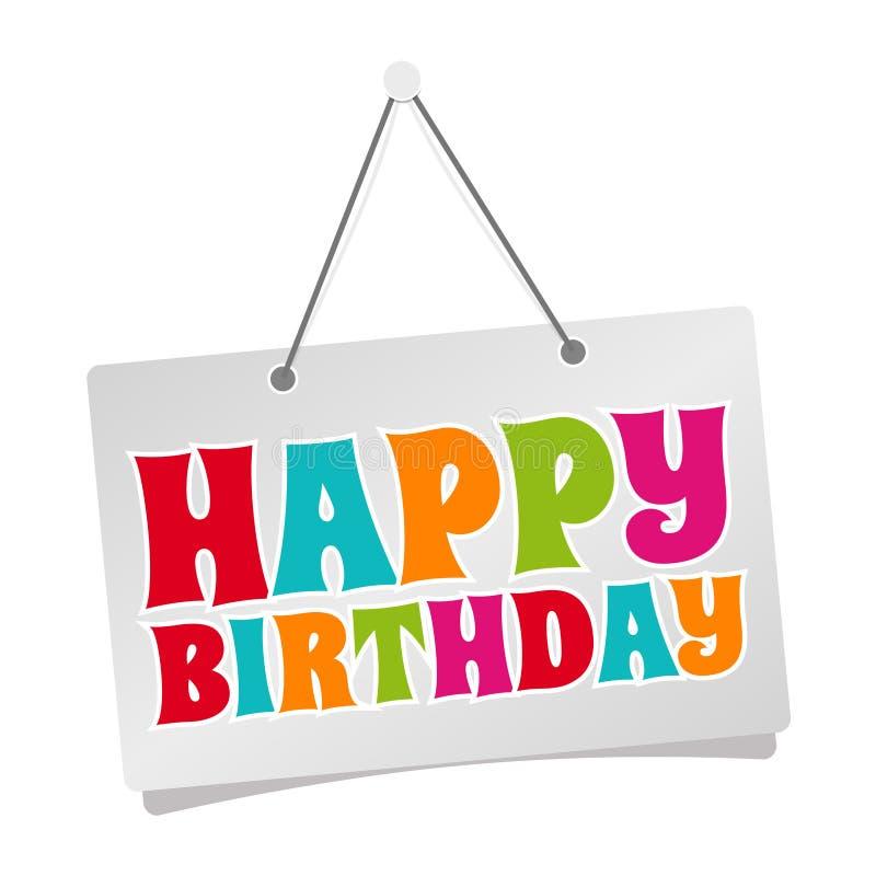 Joyeux anniversaire - signe accrochant de porte d'isolement sur le fond blanc illustration stock