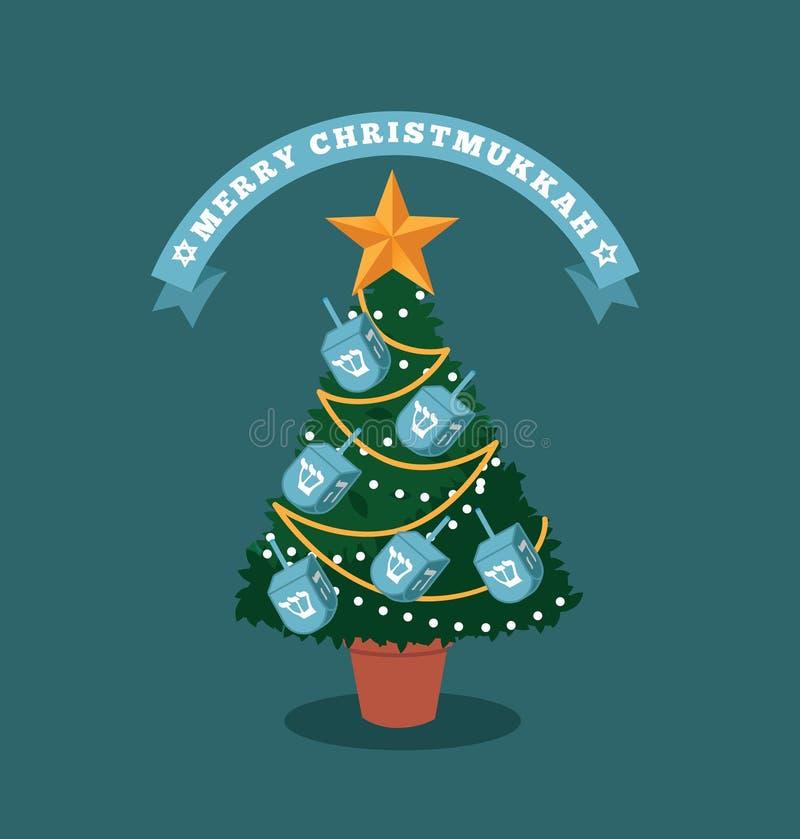 Joyeux arbre de Christmukkah (Noël et Hanoucca) avec des dreidels illustration libre de droits