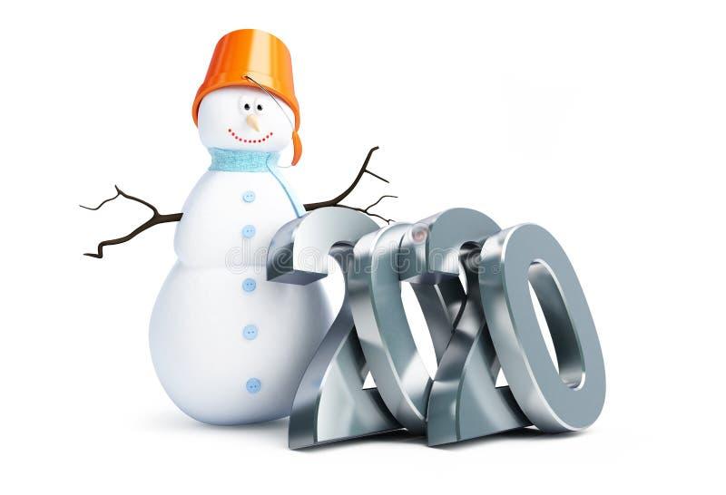 Joyeux bonhomme de neige de la bonne année 2020 sur une illustration blanche du fond 3D, rendu 3D illustration libre de droits