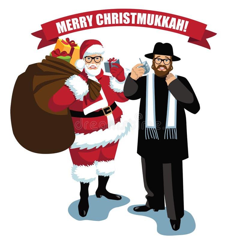 Joyeux Christmukkah Santa et Rabbin ont isolé illustration stock