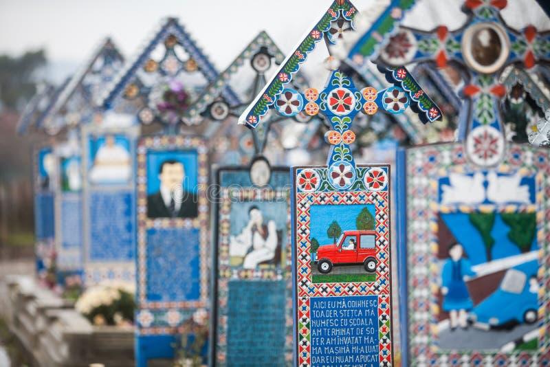 Joyeux cimetière dans Sapanta, Roumanie photographie stock libre de droits