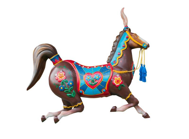 Joyeux disparaissent cheval de rond ou de carrousel d'isolement sur le blanc illustration de vecteur