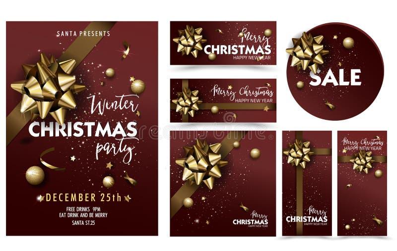 Joyeux ensemble de calibre d'affiche de disposition de fête de Noël de vacances illustration stock