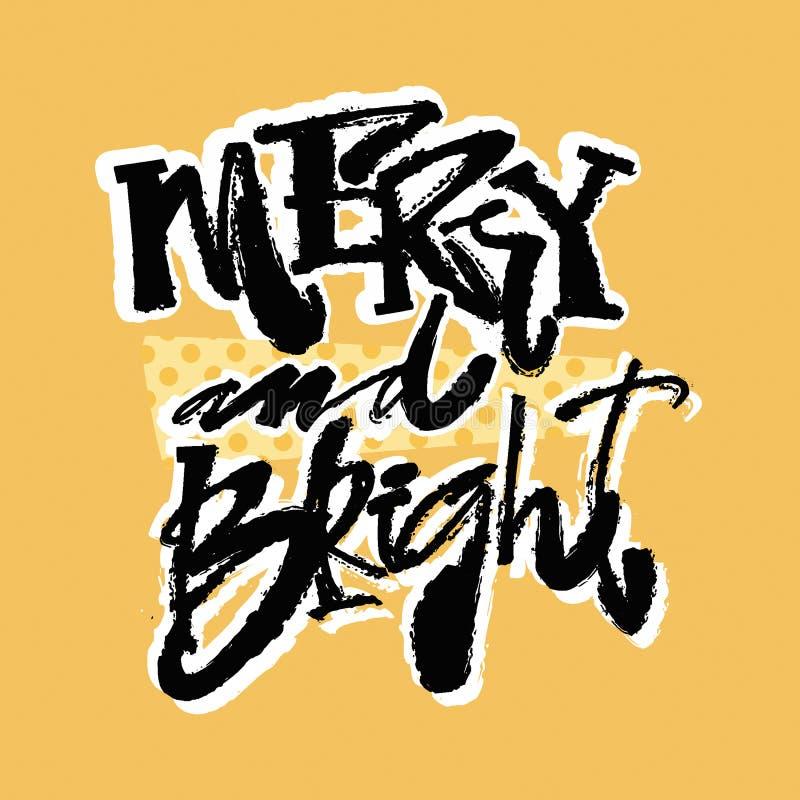 Joyeux et lumineux Main marquant avec des lettres la copie calligraphique de Noël illustration libre de droits