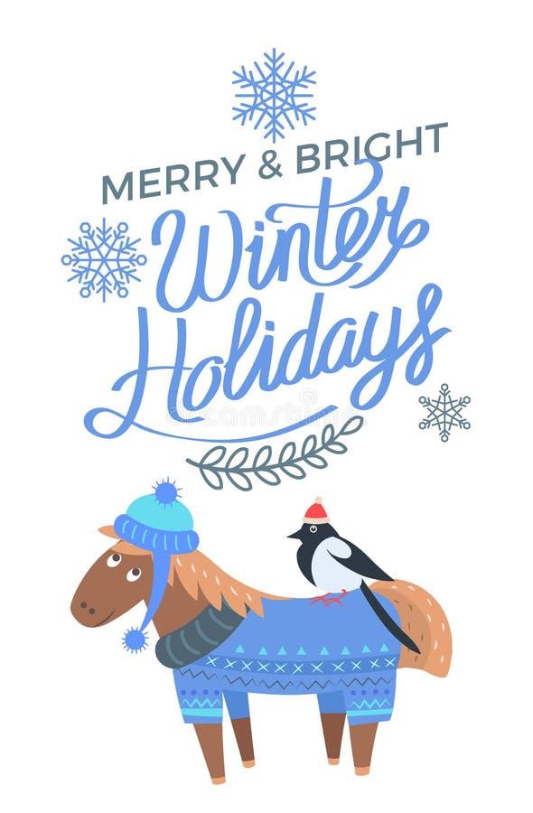 Joyeux et lumineux oiseau de cheval d'affiche de vacances d'hiver illustration stock