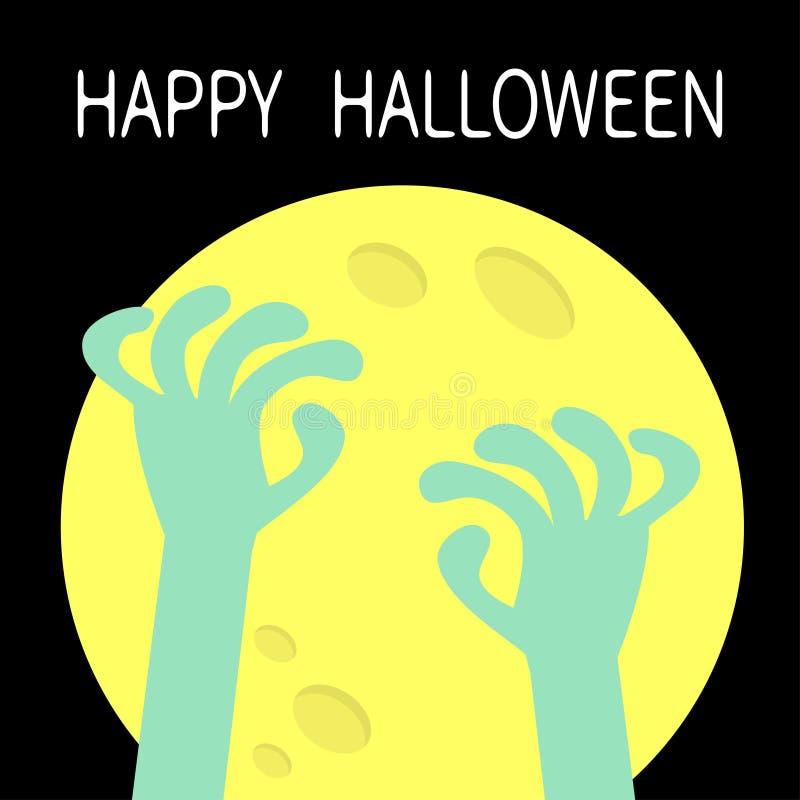 Joyeux Halloween Des mains zombies surgissant d'une pierre tombale Grande lune jaune Jolie bande dessinée boo carrosserie de pers illustration libre de droits