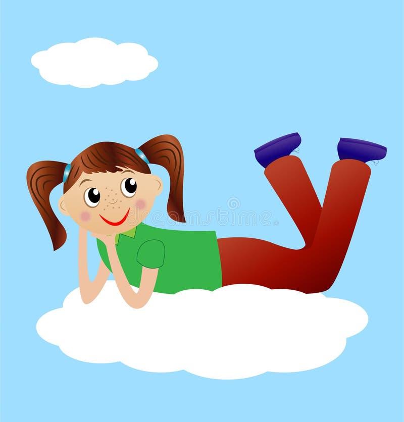 Joyeux mensonge de fille sur le nuage illustration libre de droits