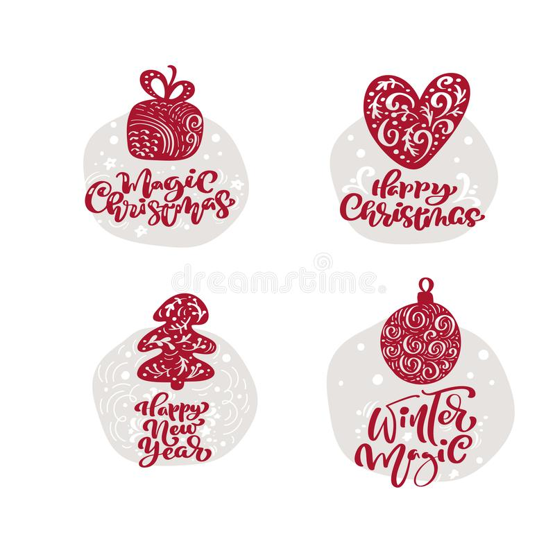 Joyeux modèle de carte de voeux scandinave vectorielle de Noël avec des éléments de style vintage et texte de vacances tendance illustration de vecteur
