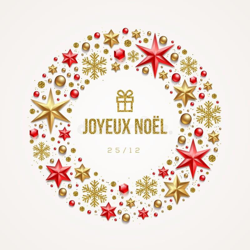 """Joyeux noà """"l - Bożenarodzeniowi powitania w Francuskim Obramia w postaci Bożenarodzeniowego wianku robić od gwiazd, rubinowi kle ilustracji"""