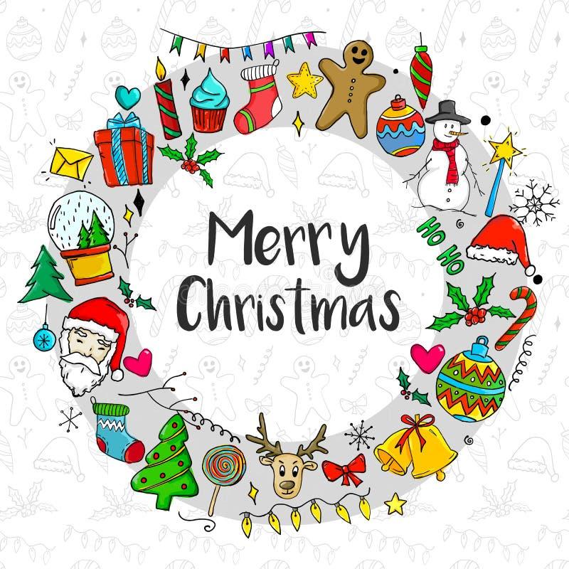 Joyeux Noël à l'intérieur de cadre de cercle d'ornement de Noël illustration libre de droits