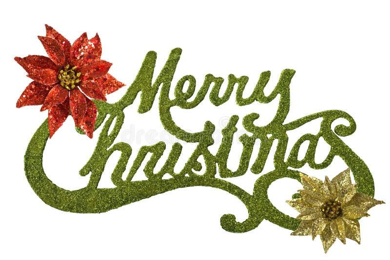 Joyeux Noël avec des pointsettias de rouge et d'or photographie stock