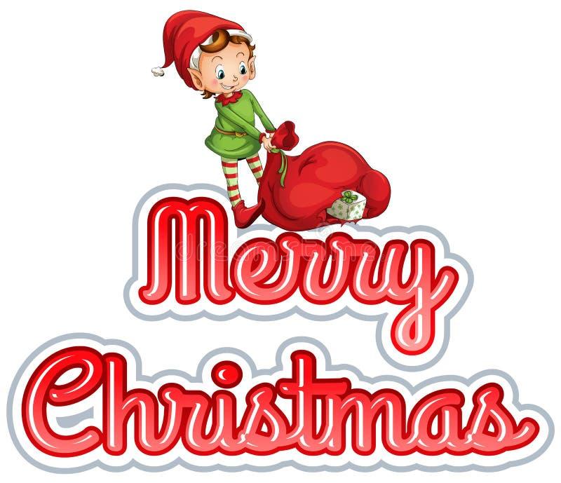 Joyeux Noël avec l'elfe illustration stock