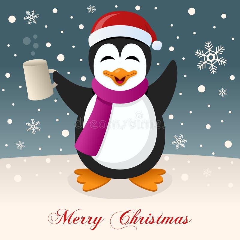 Joyeux Noël avec le pingouin ivre illustration de vecteur