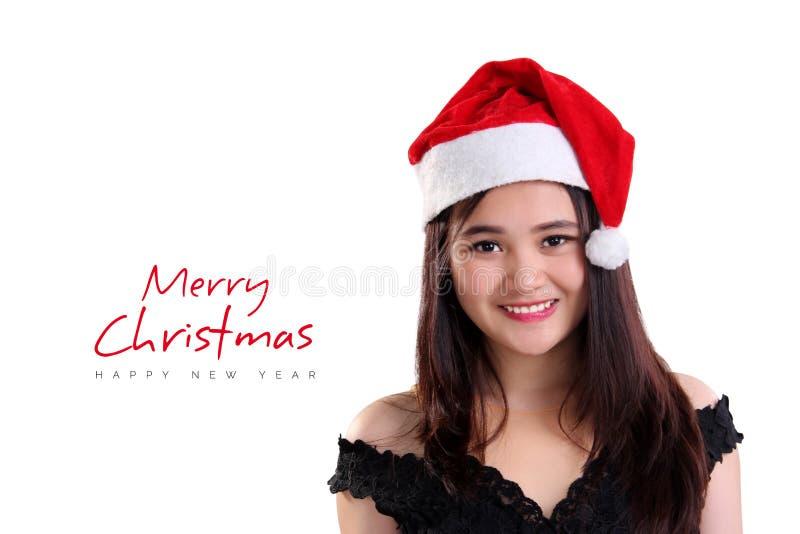 Joyeux Noël avec le visage de sourire de fille photos stock
