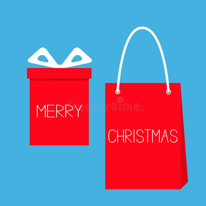 Joyeux Noël Boîte-cadeau rouge avec l'arc de ruban, papier illustration stock