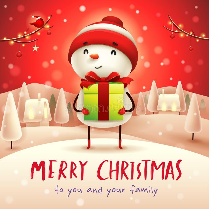 Joyeux Noël ! Bonhomme de neige gai avec le présent de cadeau dans Noël illustration de vecteur