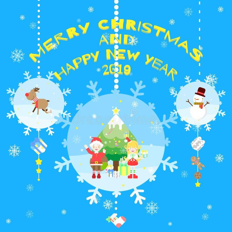 Joyeux Noël, bonne année avec le père noël, Santa féminine, renne, arbre de Noël, flocon de neige, fond bleu de saison d'hiver illustration de vecteur