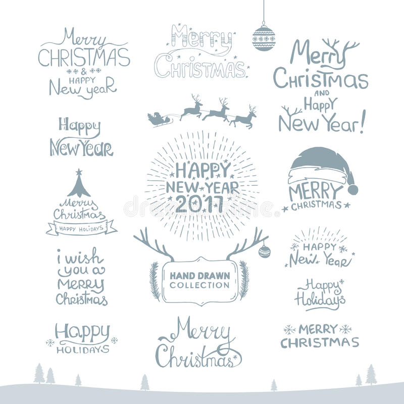 Joyeux Noël Bonne année, 2017 Ensemble de typographie Logo de vecteur, emblèmes, conception des textes Utilisable pour des banniè illustration de vecteur
