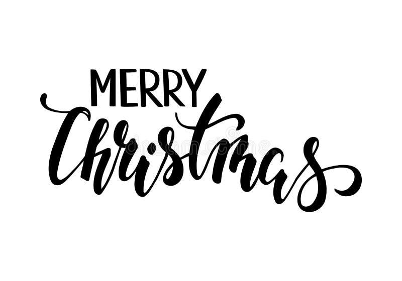 Joyeux Noël Calligraphie et lettrage créatifs tirés par la main de stylo de brosse illustration de vecteur