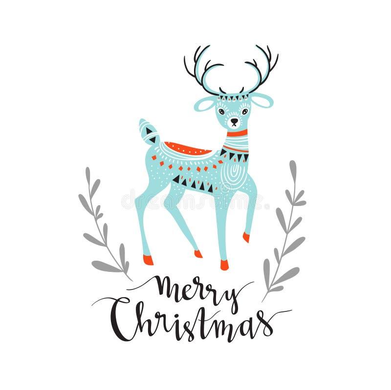 Joyeux Noël - carte d'hiver avec le lettrage élégant et les cerfs communs mignons Carte de voeux de vecteur illustration stock