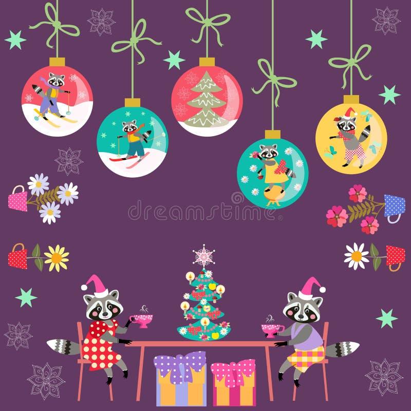 Joyeux Noël ! Carte de voeux avec les ratons laveurs de bande dessinée, l'arbre de Noël, les boules de Noël, les plantes d'intéri illustration de vecteur