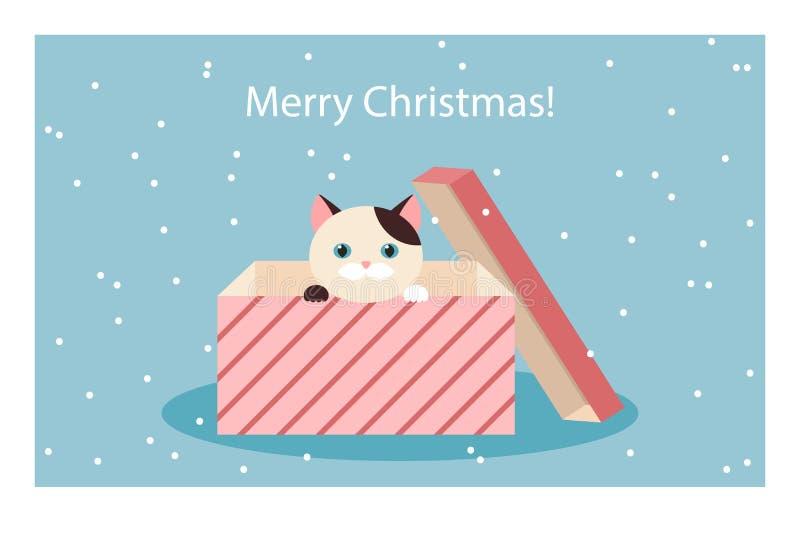 Joyeux Noël ! carte de voeux avec un chat dans un boîte-cadeau, vecteur illustration de vecteur