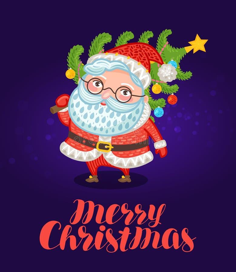 Joyeux Noël, carte de voeux Santa Claus mignonne porte l'arbre de Noël avec des décorations illustration de fête de vecteur illustration de vecteur