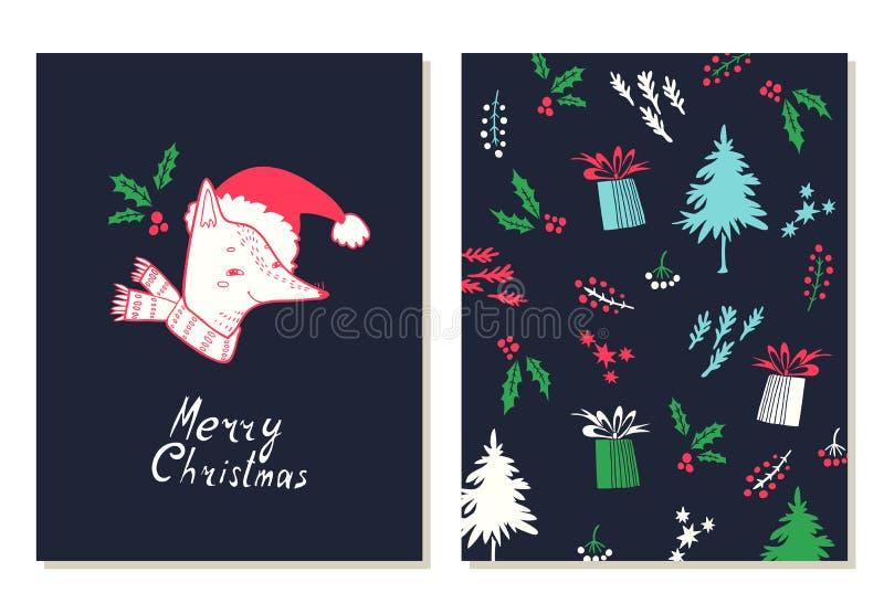 Joyeux Noël Cartes de voeux réglées avec des symboles de Noël illustration de vecteur