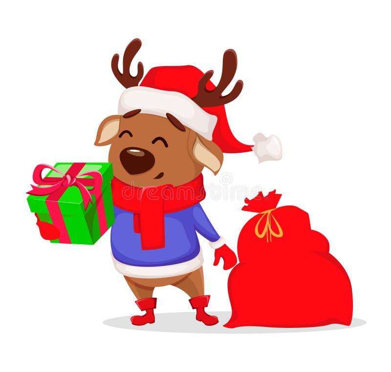 Joyeux Noël Cerfs communs mignons utilisant le chapeau de Santa Claus illustration libre de droits