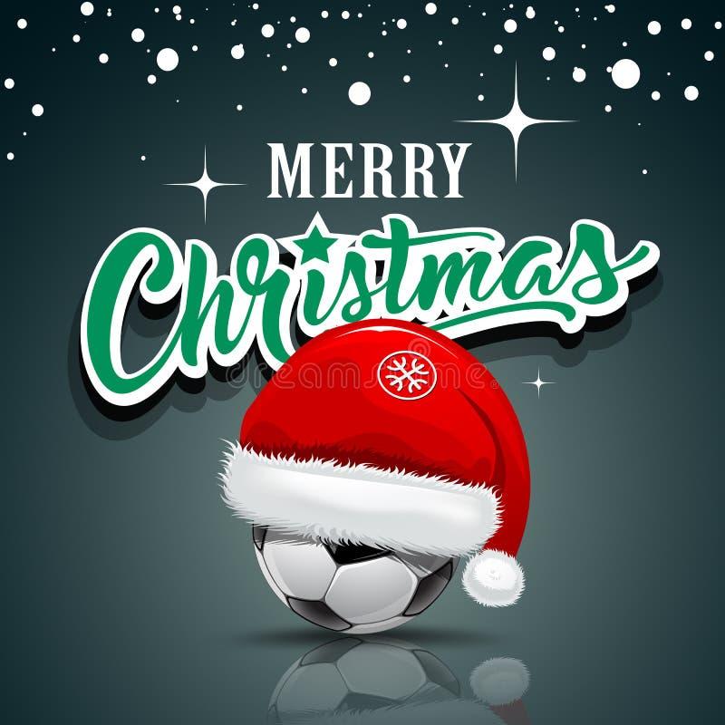 Joyeux Noël, chapeau de Santa sur la conception de ballon de football illustration de vecteur