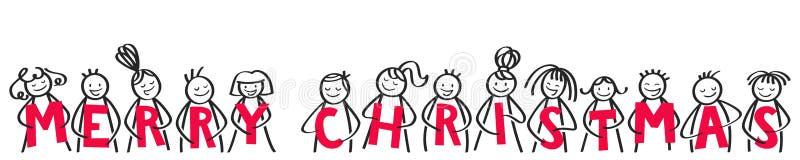 Joyeux Noël, chiffres heureux de bâton souriant et riant, tenant les lettres rouges, bannière horizontale illustration stock