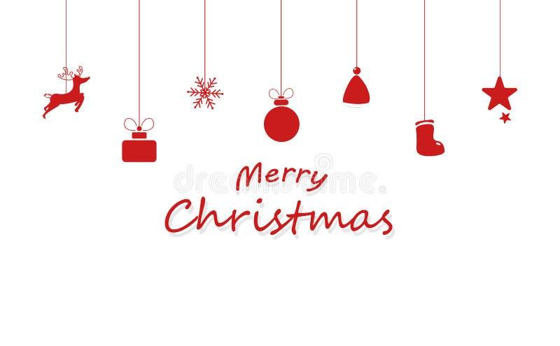 Joyeux Noël, décoration, renne, cadeau, flocons de neige, chapeau de illustration de vecteur