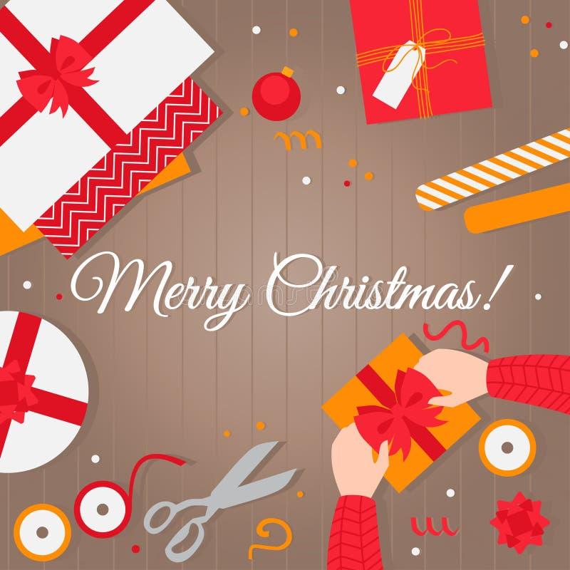 Joyeux Noël de carte Cadeaux de emballage plats de Noël faits main Vue supérieure du papier décoratif, boîtes actuelles sur une t illustration libre de droits