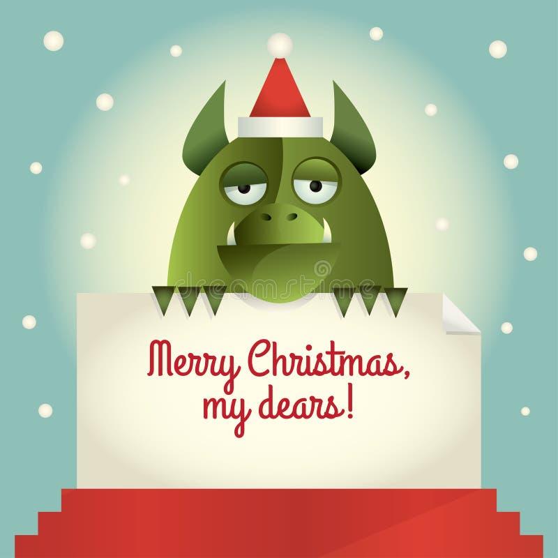 Joyeux Noël de monstre vert illustration libre de droits
